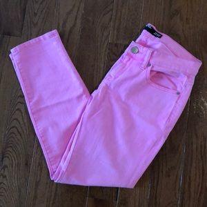 Bright pink skinny jeans!